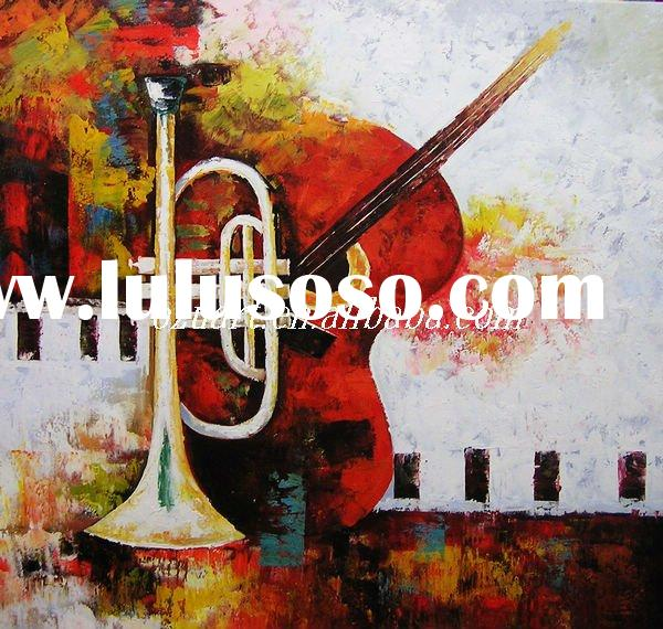 Handmade Musical Instruments Oil Painting on Canvas