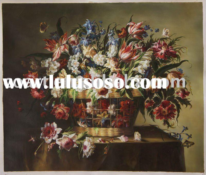 Handmade classical flower oil painting on canvas