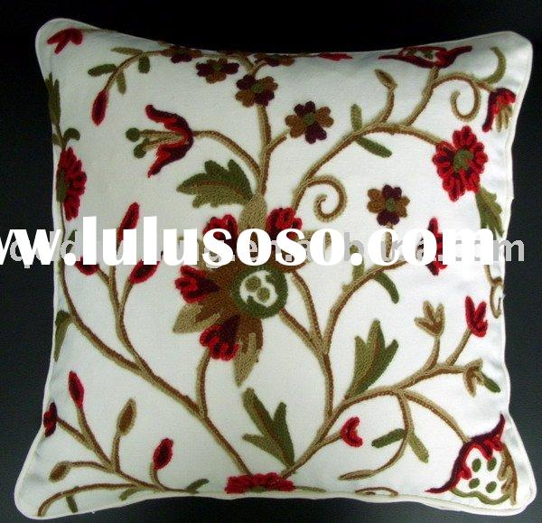Handmade embroidery and creweled Cushion Cover,Cushion