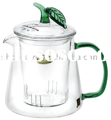 Heat resistant glass tea kettle with green handle & lid