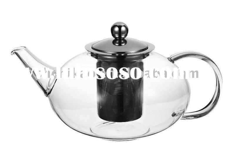 Heat resistant glass teapot with #18/8 stainless steel filter