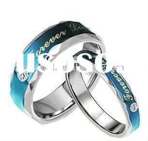 His & Her Blue Matching Wedding Bands Titanium Rings Set