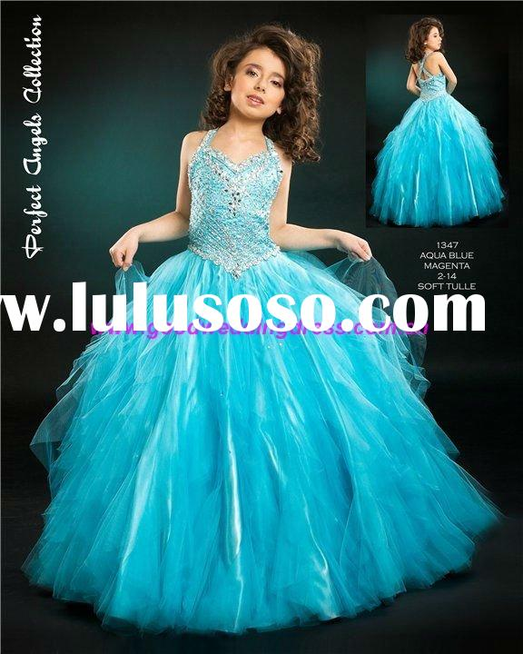 Hot 2011 New Design Blue Tulle Beaded Ball Gown Flower Girl Dress for Wedding