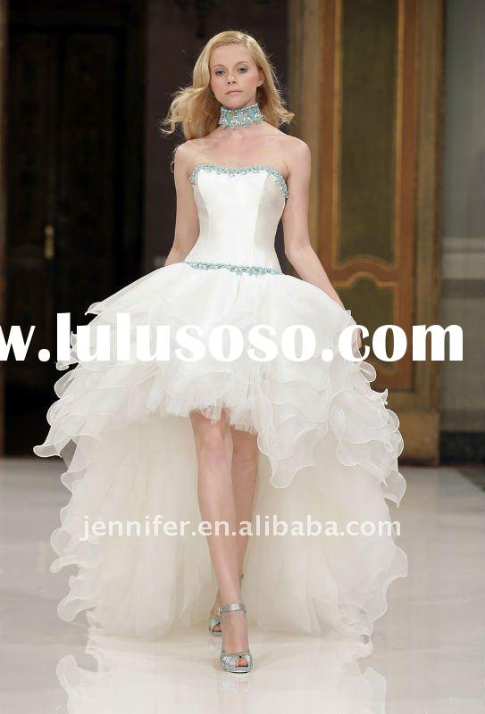 Hot Sale Strapless Sleeveless Short Front Long Back Wedding Dress 2012 bs130