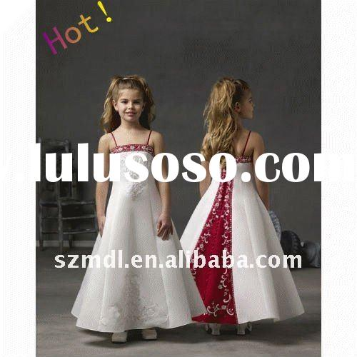 Hot sale beautiful spaghetti strap long white and red embrodier flower girl dress