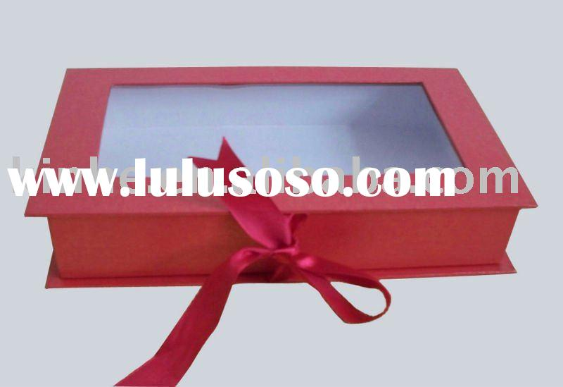 Hot sale display cardboard gift box with pvc window and ribbon