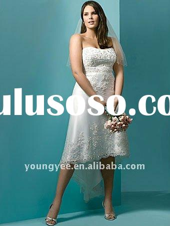 Hot sale off shoulder wedding mother dress, tea length plus size wedding dresses 2011 unique(PDL1055