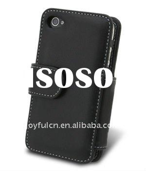 Hot selling wallet type PU leather phone protective case for iPhone 4S