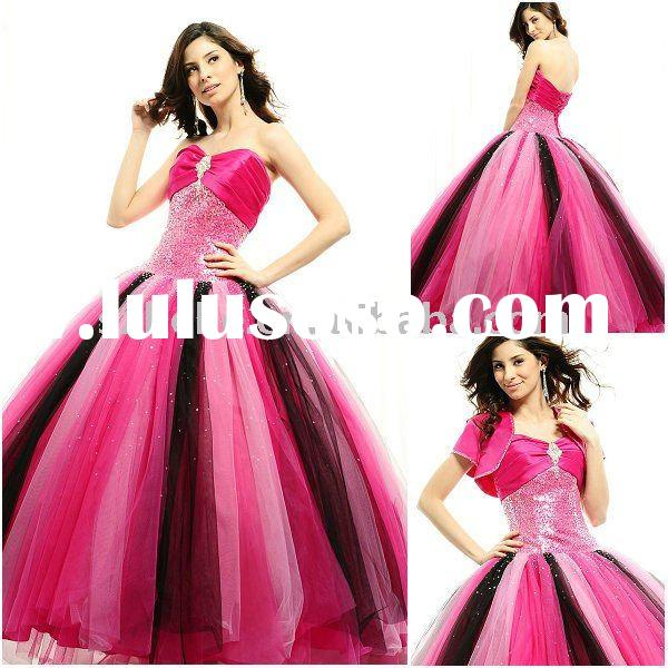Hot wholesale price sequined tulle pink and black 2012 quinceanera dress
