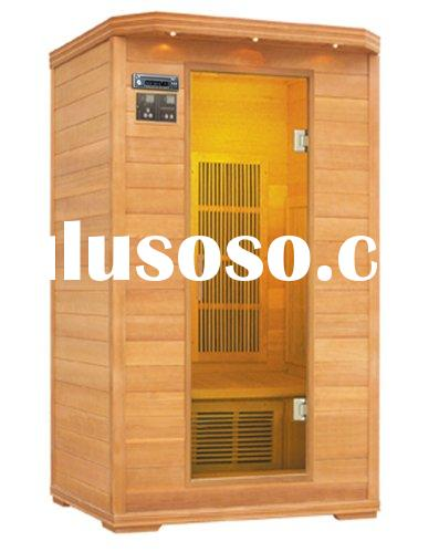 Infrared Sauna room FIS-02 LC with carbon fiber heater and lights inside and outside