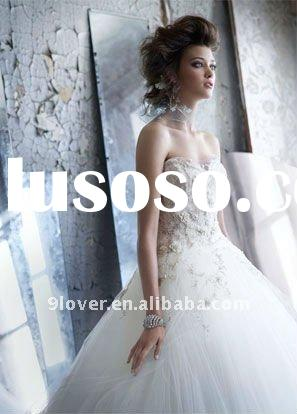 Ivory tulle bridal ball gown lace bodice beaded and embroidered gathered tulle skirt LZ-3152