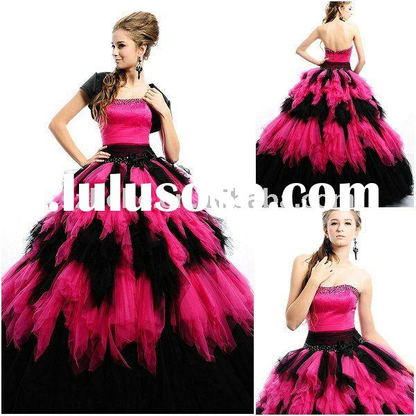 Jun Mei Q0035 Ball gown black and hot pink quinceanera dress