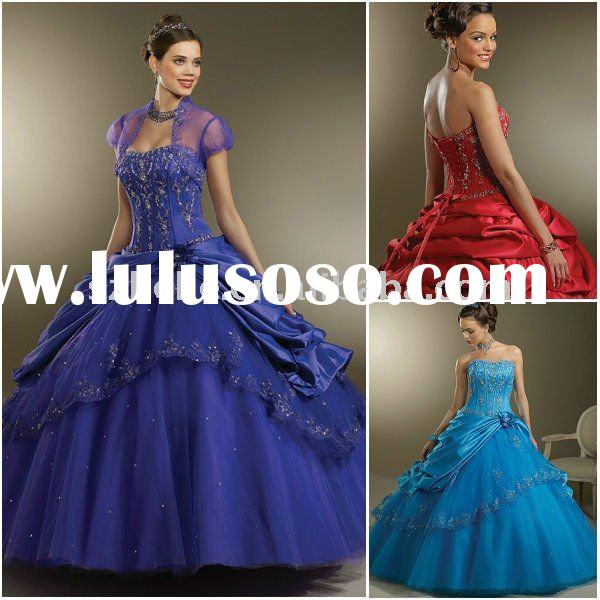 Jun Mei Q0057 Ball gown taffeta quinceanera dresses blue