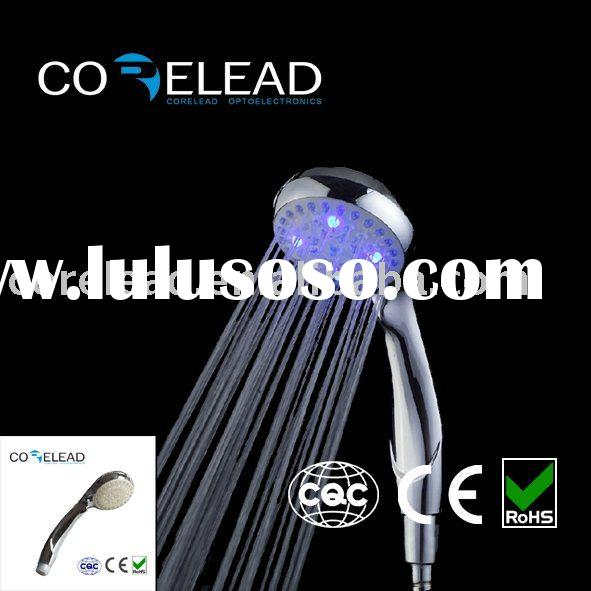 LED shower light in four color change and hot warning of temperature detectable led shower head no b