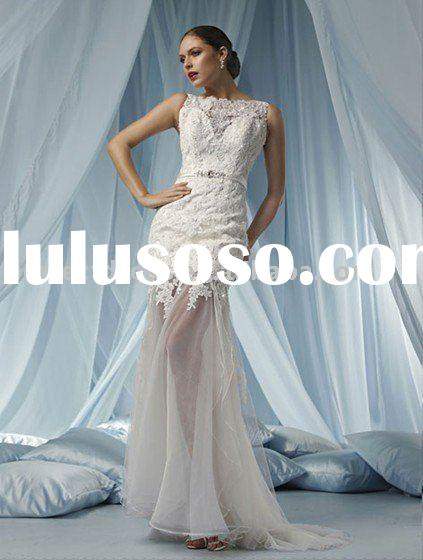 Lace/tulle open back wedding dresses NSW0811