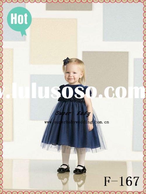 Latest collection short sleeve A-line F-167 navy blue fashion baby flower girl dress