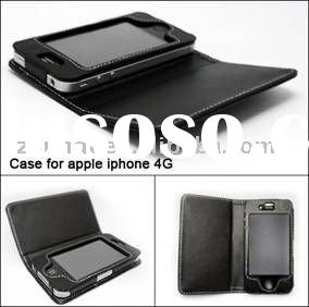 Left and Right Open Luxury Black PU Leather Case for Apple cell phone iphone4G