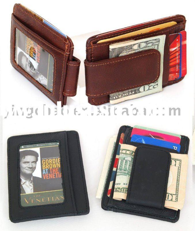 Men's Leather Wallet Money Clip Card Case with Magnet