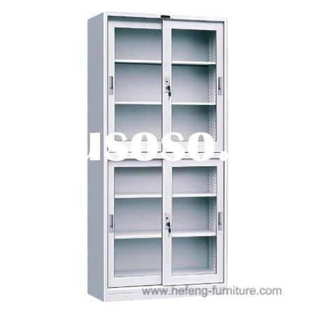 Metal Book Cabinets with Glass Sliding Doors