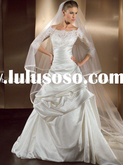Modern long sleeve lace ball gown satin bridal wedding gown/dress WB--Z1080