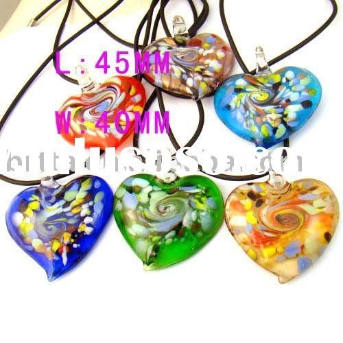 Murano Lampwork Glass heart Pendant necklace