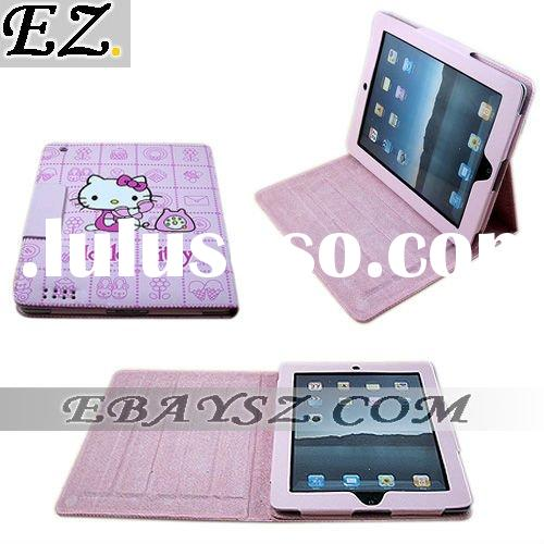 New Lovely hello kitty Leather Case Cover With Stand For Apple iPad 2 IP-0769 Wholesale/Retail