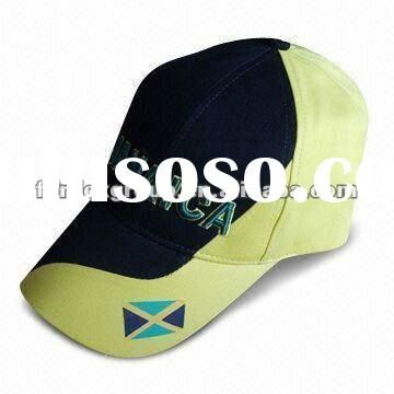 New Stylish Black and Yellow Baseball Cap with 3-D Embroidery, Made of Heavy Brushed Cotton