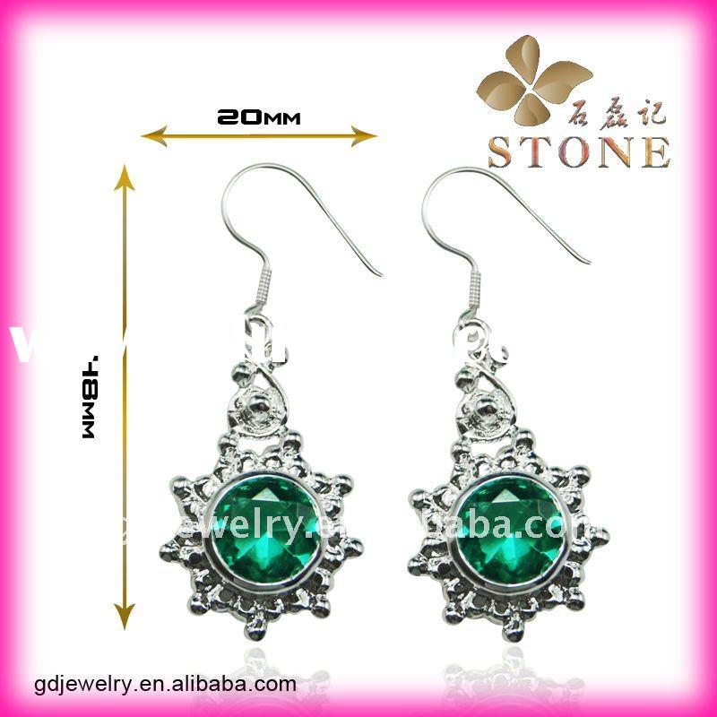 New arrival costume handmade gemstone silver earring jewelry parts