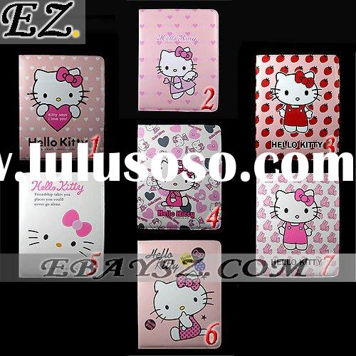 New hello kitty Leather Case Cover With Stand For Apple iPad 2 IP-0769