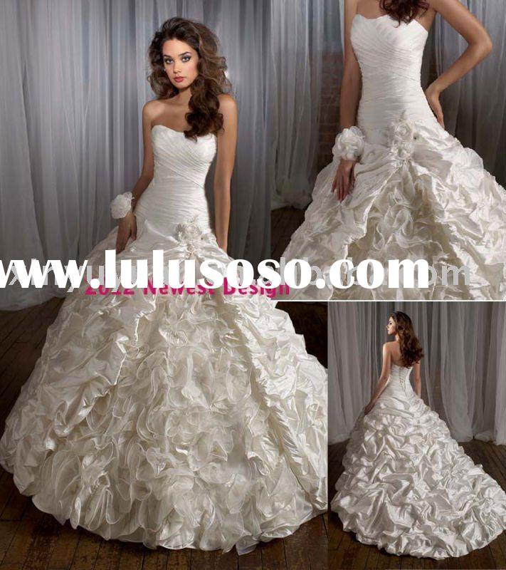Newest Arrived court train unique ball gown wedding dress MLW-403