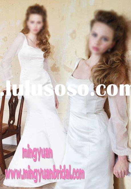 Newest Design Discount Trumpet/Mermaid Satin Long sleeve Wedding Gown ab105