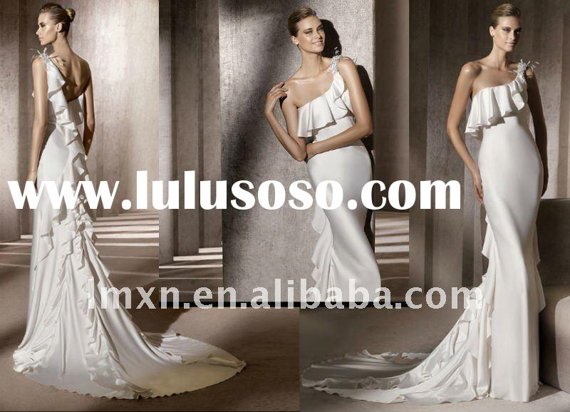 One-Shoulder white sheath fashion beautiful new model 2012 wedding dress