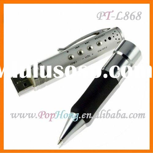 PT-L868 4GB Digital Round Recorder Pen MP3+FM mini digital voice recorder