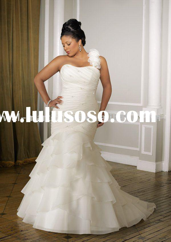 PW173 Beaded Chiffon One Shoulder Mermaid Plus Size Wedding Dresses