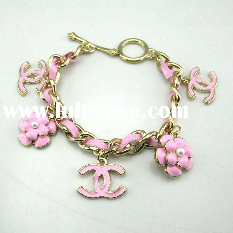 Pink leather alloy bracelet, han edition bracelet, hand catenary sell like hot cakes