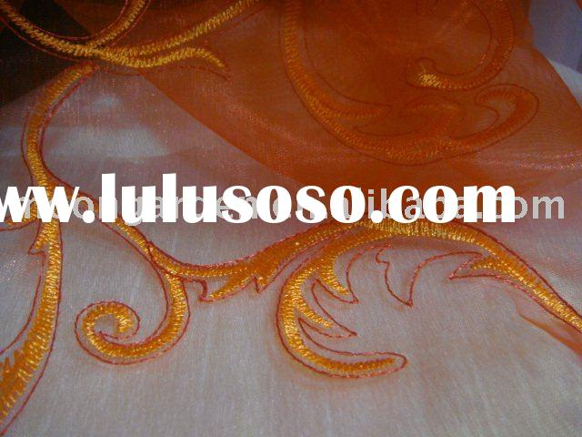 Polyester Organza Wedding Dress Fabrics;Voile Embroidery Lace Window Curtain Fabrics;Home Textile Fa