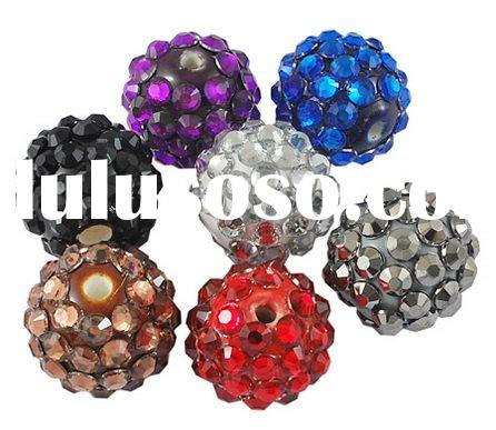 Porcelain Beads, With Acrylic Rhinestone, Round, Multicolor, 23mm in diameter, hole: 2mm(CF514Y)