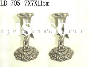 Pretty Twin Angle Flower Metal Candle Holder