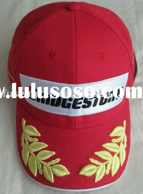 Promotional 100% cotton 6 panels red baseball cap with 3D embroidery,(FS1210)