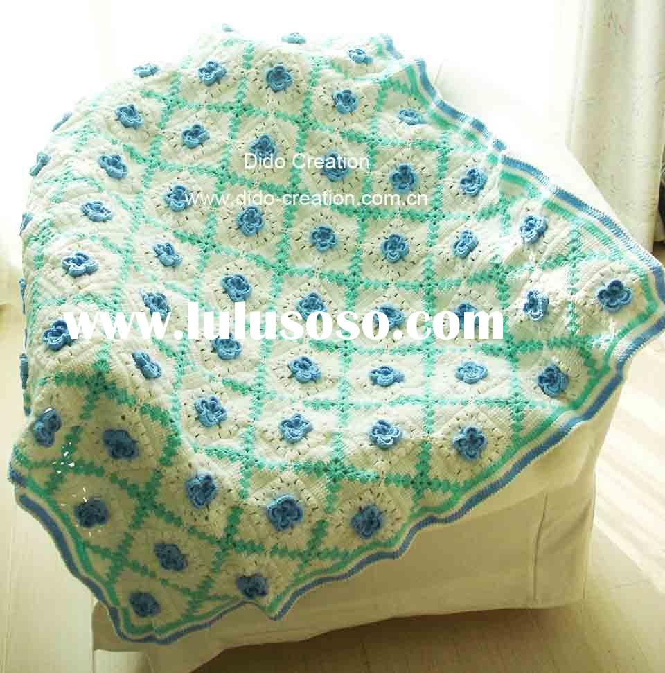 "QN10001B Handmade Crocheted Baby Soft Blankets Afghan Coverlet Milk Cotton 40""*40"""