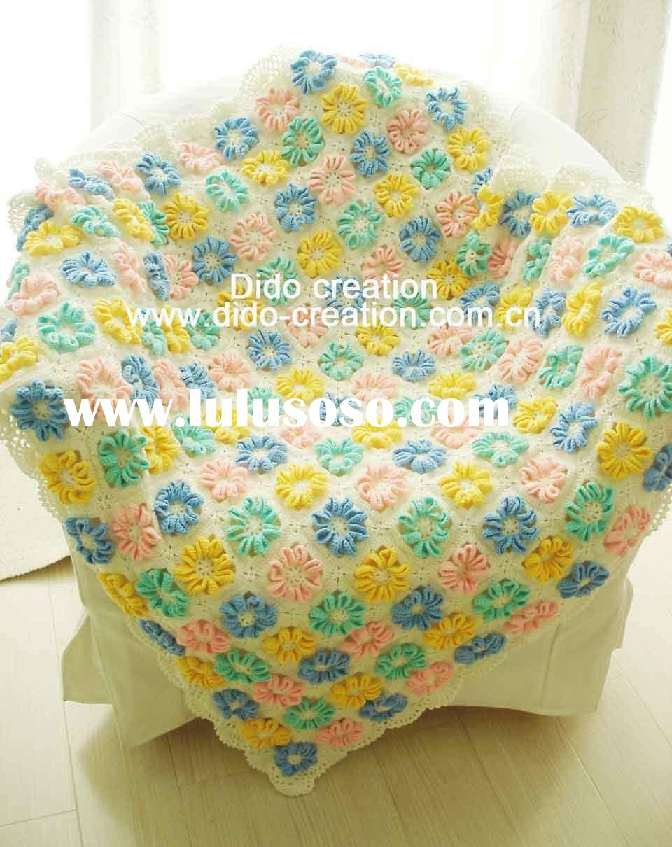 QN10003 Handmade Crocheted Baby Rose Soft Blankets Afghan Coverlet Milk Cotton