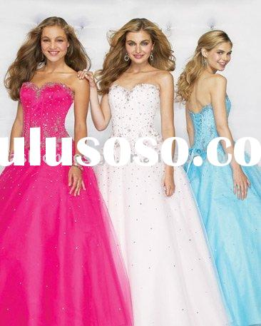 RQ066 Elegant classic tulle crystals rhinestones puffy prom dress Quinceanera Dresses