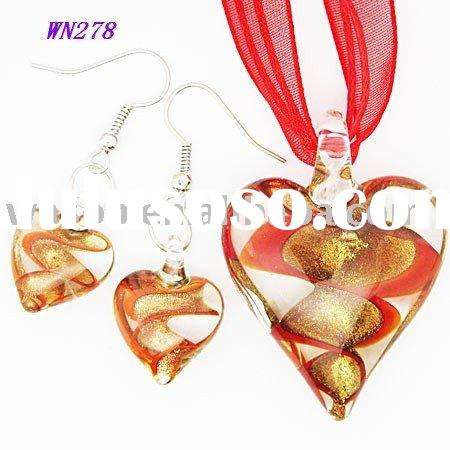 Red Heart Lampwork Glass Pendant Necklace Earrings Set