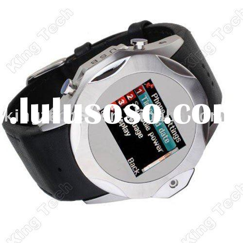 S730 Black Best Leather Band Dual Sim Card FM Wrist Watch Phone