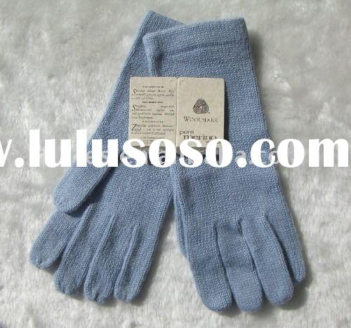 Shetland wool/Lambswool plain knitted winter fashion glove