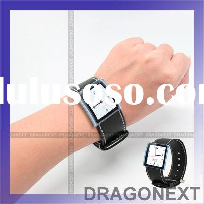 Sports Watch Leather Band Wrist Strap With Clear Case For Apple iPod Nano 6 6th