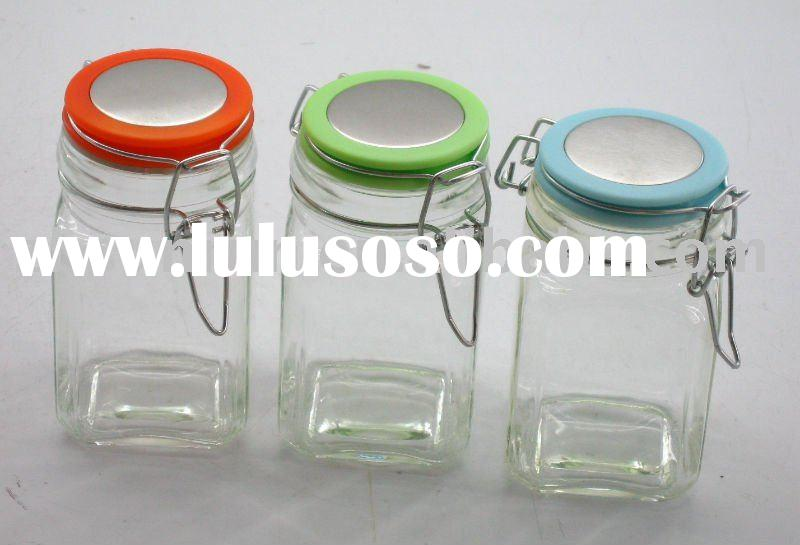 Square glass jar with clip top lid
