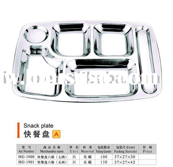 Stainless steel fast food/snack plate/dish