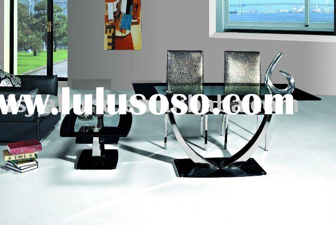 Stainless steel+tempered glass Dining Table/ Metal Dining Table
