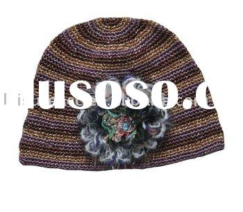 Stripe Pattern Knitted Beanie Hat With A Flower For Ladies